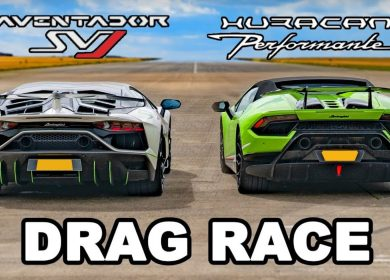 Drag race: Lamborghini Aventador SVJ vs Huracan Performante